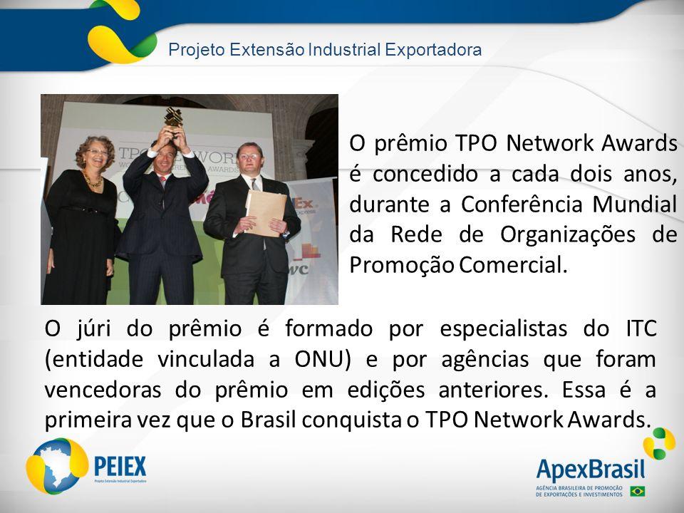 Projeto Extensão Industrial Exportadora O prêmio TPO Network Awards é concedido a cada dois anos, durante a Conferência Mundial da Rede de Organizaçõe