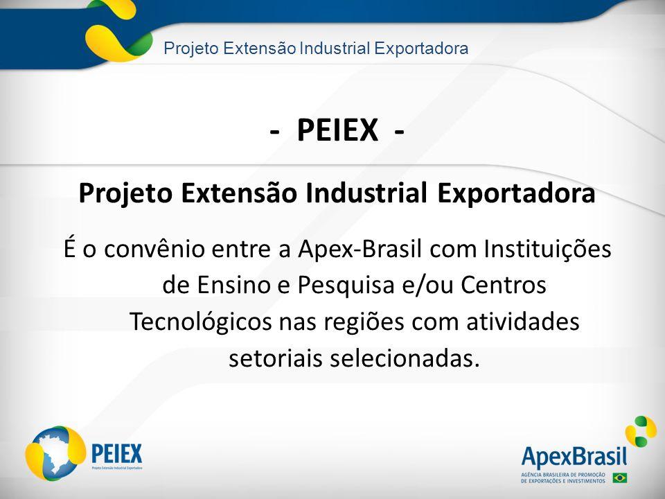 Projeto Extensão Industrial Exportadora - PEIEX - Projeto Extensão Industrial Exportadora É o convênio entre a Apex-Brasil com Instituições de Ensino