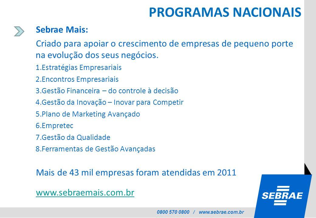 0800 570 0800 / www.sebrae.com.br PROGRAMAS NACIONAIS Sebrae Mais: Criado para apoiar o crescimento de empresas de pequeno porte na evolução dos seus