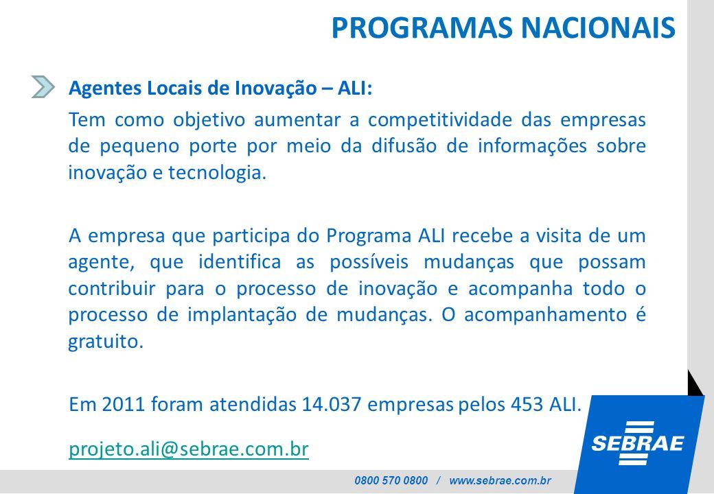 0800 570 0800 / www.sebrae.com.br PROGRAMAS NACIONAIS Agentes Locais de Inovação – ALI: Tem como objetivo aumentar a competitividade das empresas de p