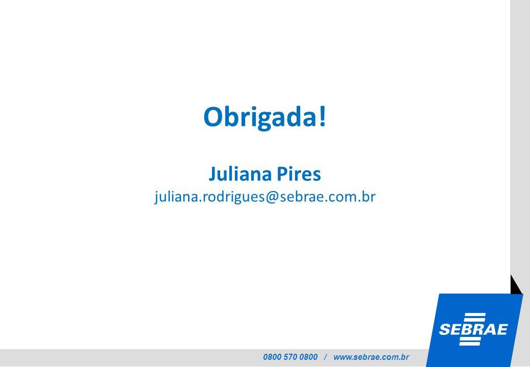 0800 570 0800 / www.sebrae.com.br Obrigada! Juliana Pires juliana.rodrigues@sebrae.com.br