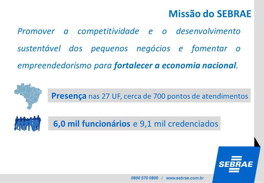 0800 570 0800 / www.sebrae.com.br Missão do SEBRAE Promover a competitividade e o desenvolvimento sustentável dos pequenos negócios e fomentar o empre