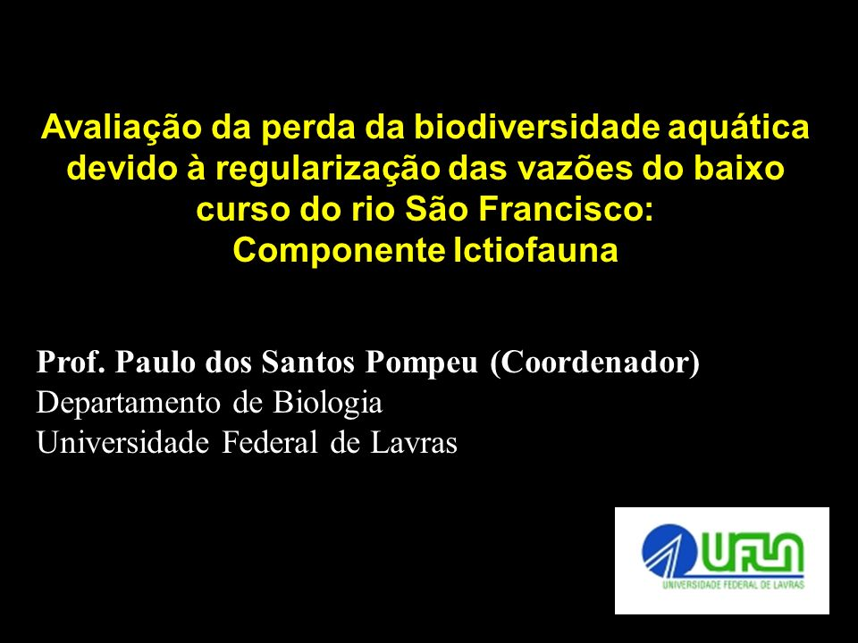 Avaliação da perda da biodiversidade aquática devido à regularização das vazões do baixo curso do rio São Francisco: Componente Ictiofauna Prof. Paulo