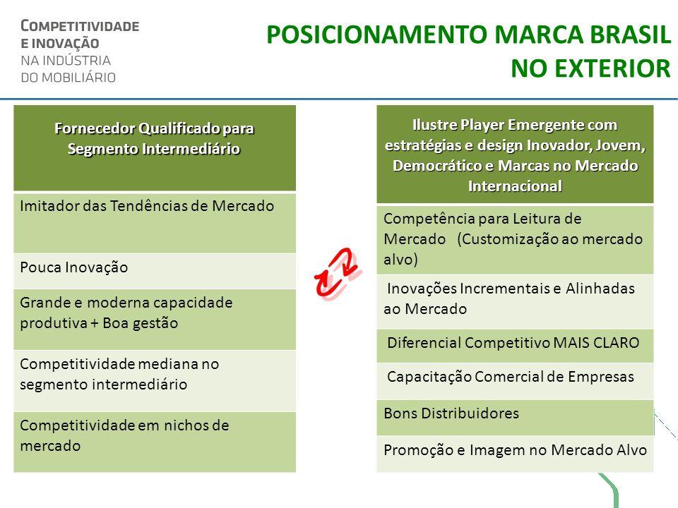 POSICIONAMENTO MARCA BRASIL NO EXTERIOR Fornecedor Qualificado para Segmento Intermediário Imitador das Tendências de Mercado Pouca Inovação Grande e