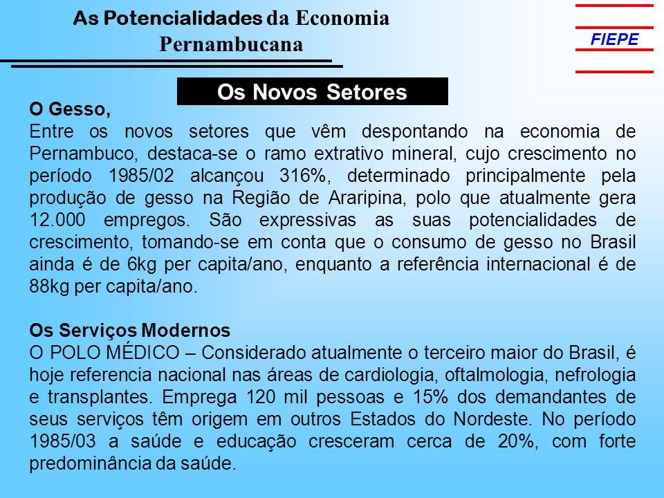 As Potencialidades da Economia Pernambucana FIEPE Os Novos Setores O Gesso, Entre os novos setores que vêm despontando na economia de Pernambuco, dest