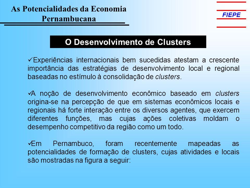 As Potencialidades da Economia Pernambucana FIEPE O Desenvolvimento de Clusters Experiências internacionais bem sucedidas atestam a crescente importância das estratégias de desenvolvimento local e regional baseadas no estímulo à consolidação de clusters.