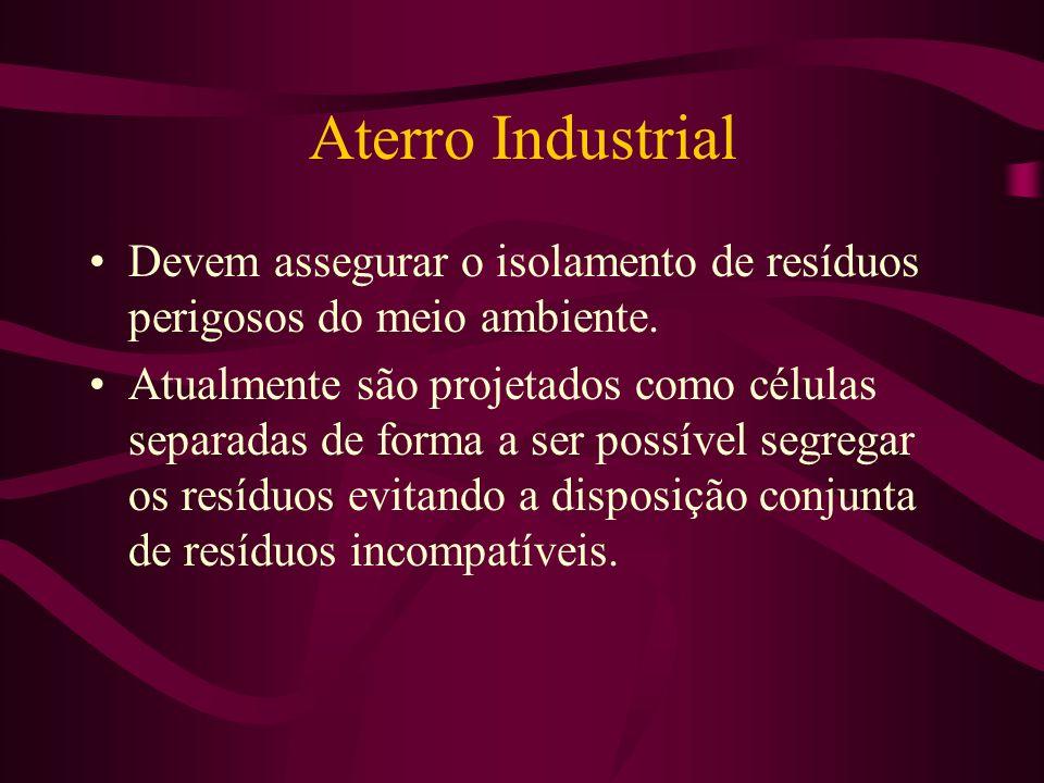 Destinação de Resíduos Industriais Armazenamento e estocagem provisória: deve ser seguro e atender as normas da ABNT: NBR 1183, 1264, 98. Incineração: