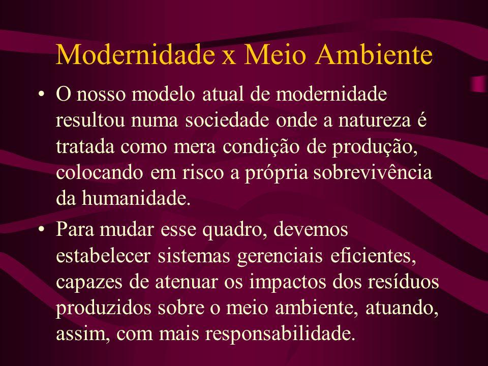 Modernidade x Meio Ambiente O nosso modelo atual de modernidade resultou numa sociedade onde a natureza é tratada como mera condição de produção, colocando em risco a própria sobrevivência da humanidade.