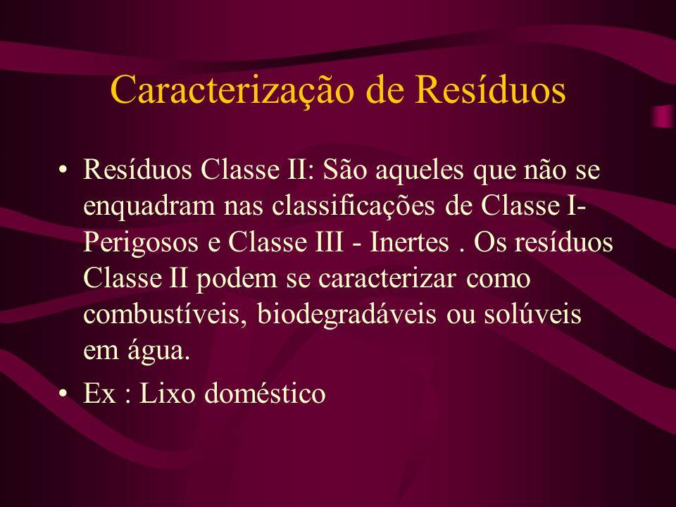 Caracterização de Resíduos Resíduos Classe II: São aqueles que não se enquadram nas classificações de Classe I- Perigosos e Classe III - Inertes.