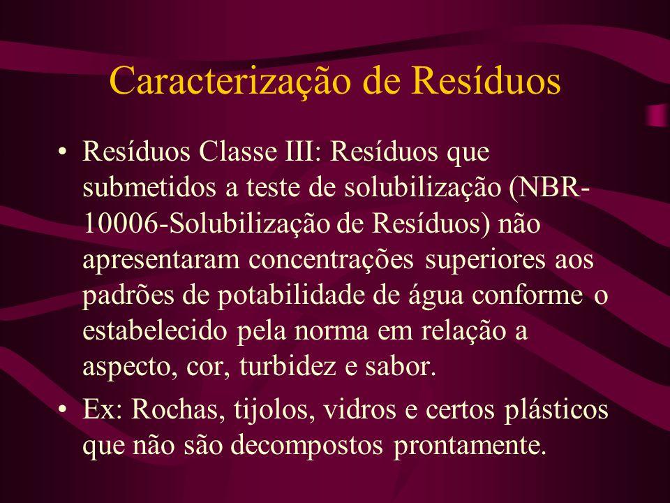 Caracterização de Resíduos Resíduos Classe II: São aqueles que não se enquadram nas classificações de Classe I- Perigosos e Classe III - Inertes. Os r