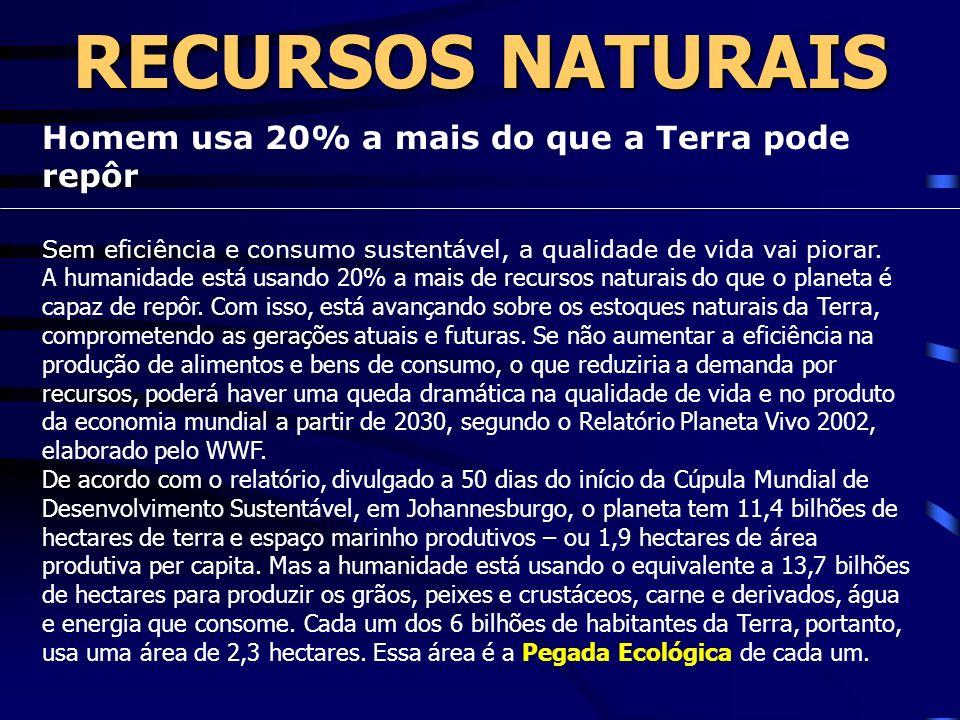 RECURSOS NATURAIS Homem usa 20% a mais do que a Terra pode repôr Sem eficiência e consumo sustentável, a qualidade de vida vai piorar.