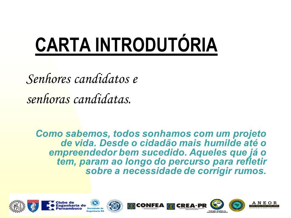 CARTA INTRODUTÓRIA Senhores candidatos e senhoras candidatas. Como sabemos, todos sonhamos com um projeto de vida. Desde o cidadão mais humilde até o