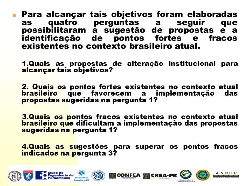 Para alcançar tais objetivos foram elaboradas as quatro perguntas a seguir que possibilitaram a sugestão de propostas e a identificação de pontos fort