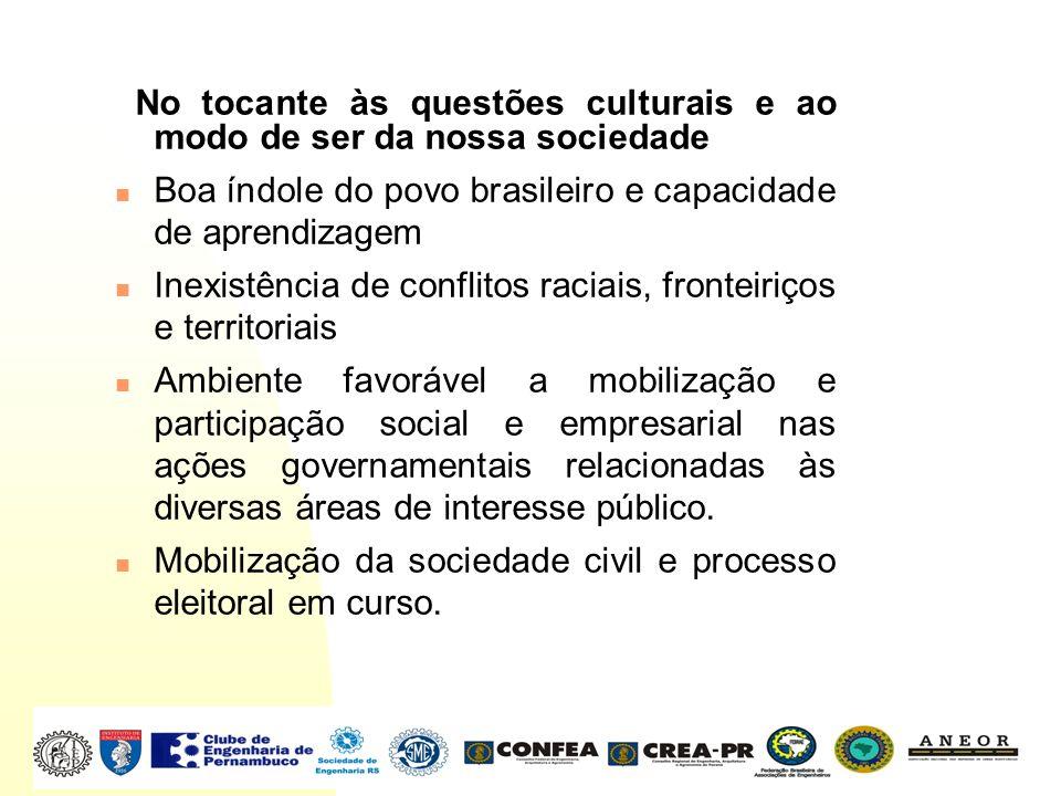 No tocante às questões culturais e ao modo de ser da nossa sociedade Boa índole do povo brasileiro e capacidade de aprendizagem Inexistência de confli