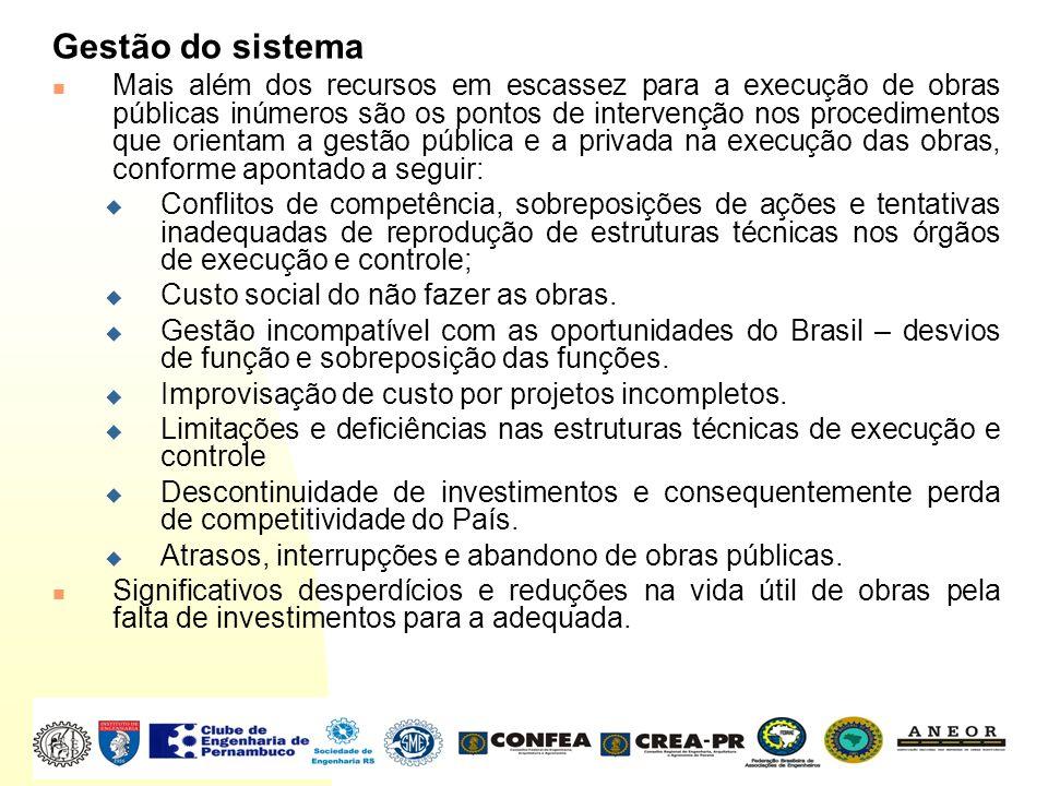 Gestão do sistema Mais além dos recursos em escassez para a execução de obras públicas inúmeros são os pontos de intervenção nos procedimentos que ori
