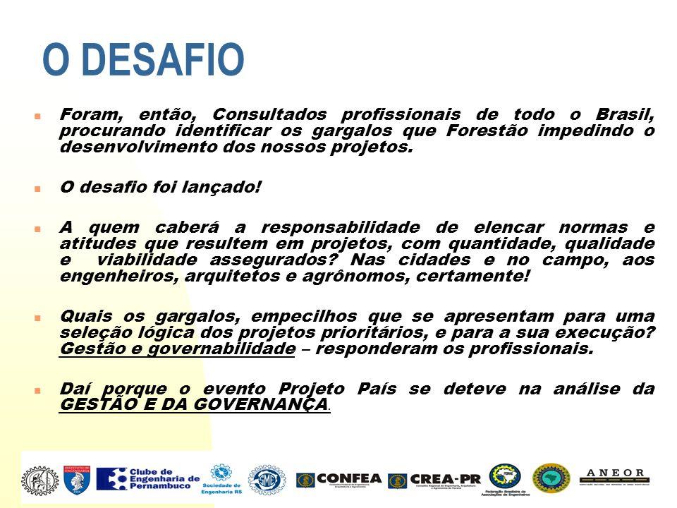 O DESAFIO Foram, então, Consultados profissionais de todo o Brasil, procurando identificar os gargalos que Forestão impedindo o desenvolvimento dos no