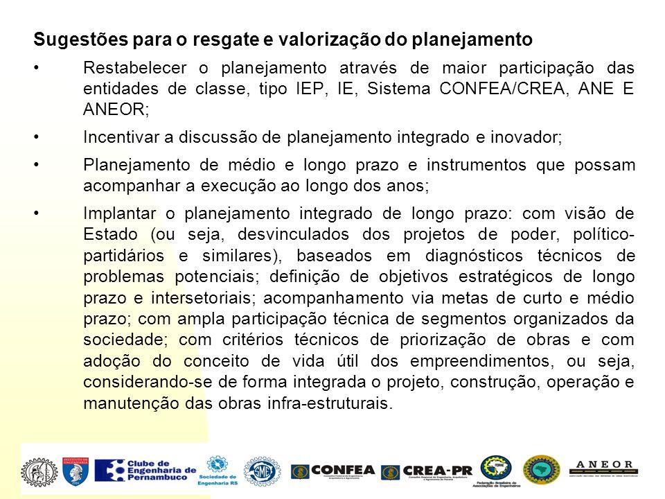 Sugestões para o resgate e valorização do planejamento Restabelecer o planejamento através de maior participação das entidades de classe, tipo IEP, IE