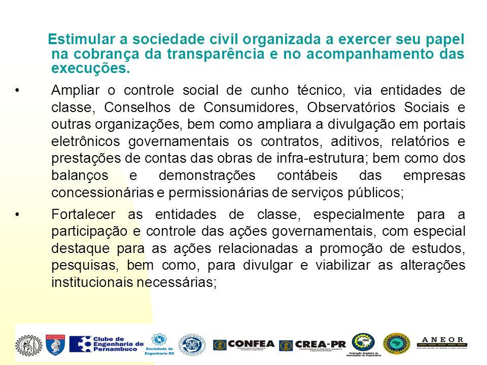 Estimular a sociedade civil organizada a exercer seu papel na cobrança da transparência e no acompanhamento das execuções. Ampliar o controle social d