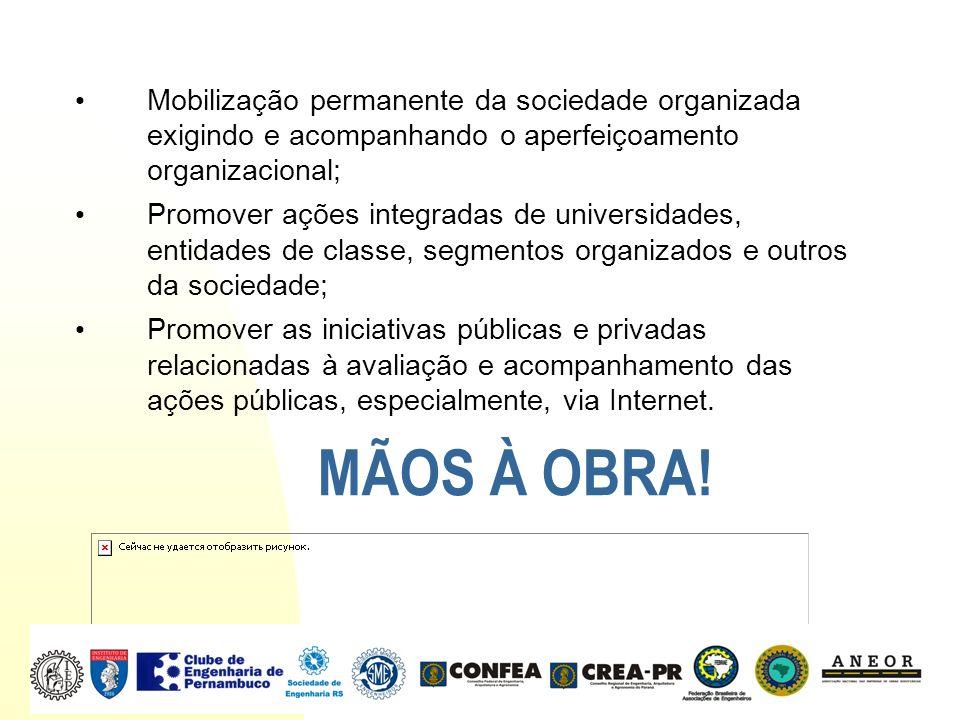 Mobilização permanente da sociedade organizada exigindo e acompanhando o aperfeiçoamento organizacional; Promover ações integradas de universidades, e