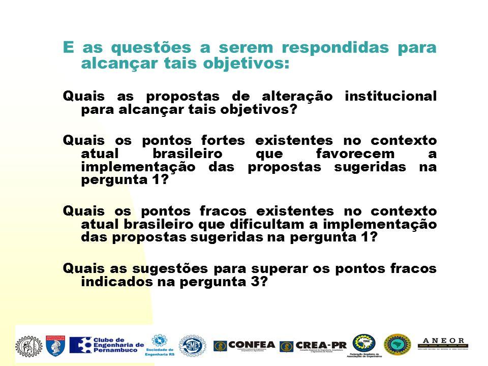 E as questões a serem respondidas para alcançar tais objetivos: Quais as propostas de alteração institucional para alcançar tais objetivos? Quais os p