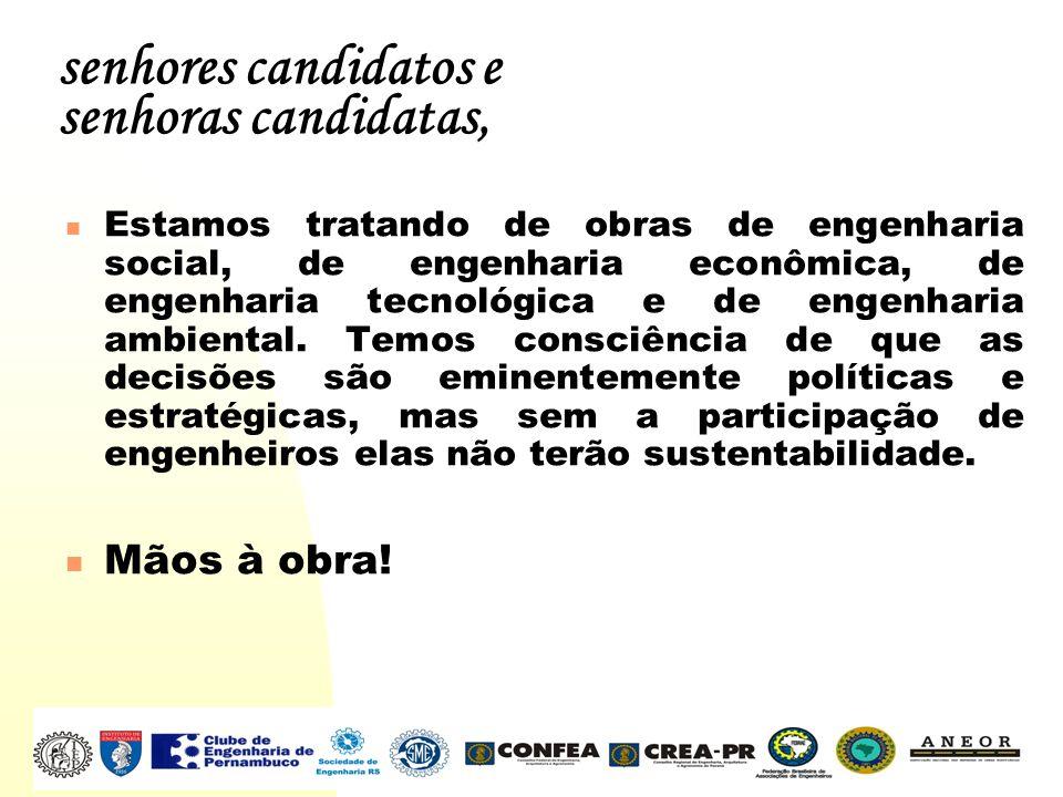 senhores candidatos e senhoras candidatas, Estamos tratando de obras de engenharia social, de engenharia econômica, de engenharia tecnológica e de eng