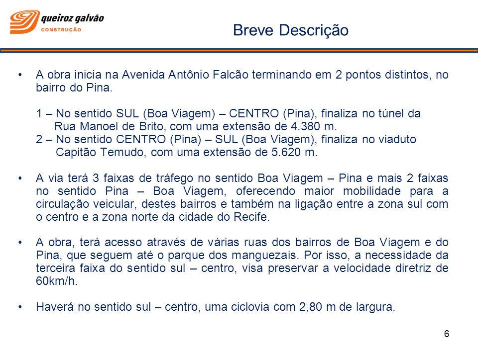 Breve Descrição 6 A obra inicia na Avenida Antônio Falcão terminando em 2 pontos distintos, no bairro do Pina. 1 – No sentido SUL (Boa Viagem) – CENTR