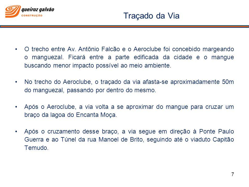 Traçado da Via O trecho entre Av. Antônio Falcão e o Aeroclube foi concebido margeando o manguezal. Ficará entre a parte edificada da cidade e o mangu