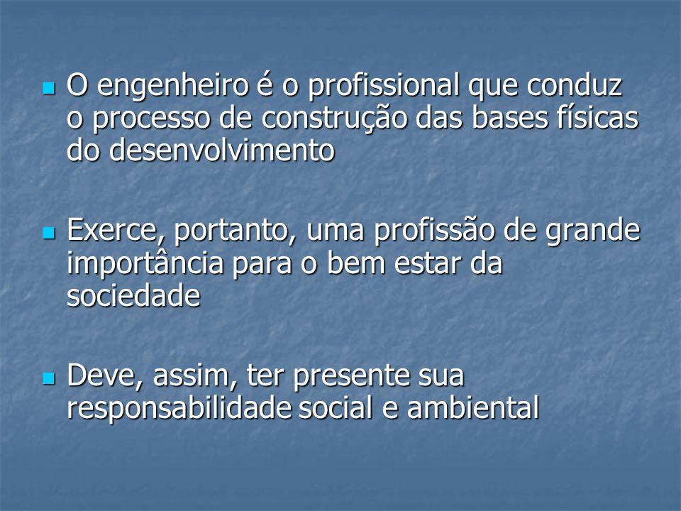 O engenheiro é o profissional que conduz o processo de construção das bases físicas do desenvolvimento O engenheiro é o profissional que conduz o proc