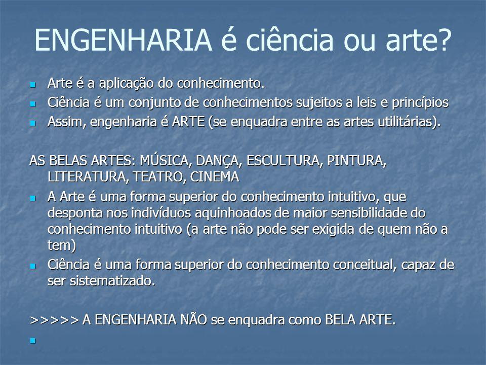 ENGENHARIA é ciência ou arte? Arte é a aplicação do conhecimento. Arte é a aplicação do conhecimento. Ciência é um conjunto de conhecimentos sujeitos