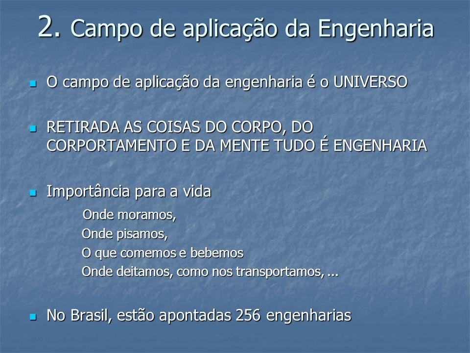 2. Campo de aplicação da Engenharia O campo de aplicação da engenharia é o UNIVERSO O campo de aplicação da engenharia é o UNIVERSO RETIRADA AS COISAS