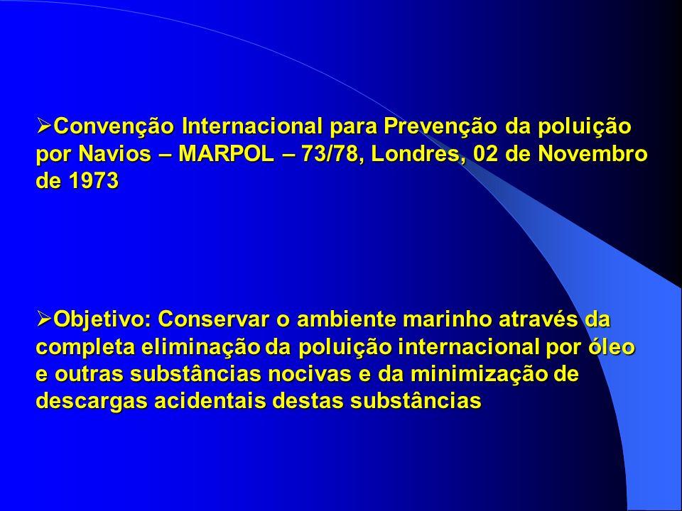 Convenção Internacional para Prevenção da poluição por Navios – MARPOL – 73/78, Londres, 02 de Novembro de 1973 Convenção Internacional para Prevenção da poluição por Navios – MARPOL – 73/78, Londres, 02 de Novembro de 1973 Objetivo: Conservar o ambiente marinho através da completa eliminação da poluição internacional por óleo e outras substâncias nocivas e da minimização de descargas acidentais destas substâncias Objetivo: Conservar o ambiente marinho através da completa eliminação da poluição internacional por óleo e outras substâncias nocivas e da minimização de descargas acidentais destas substâncias