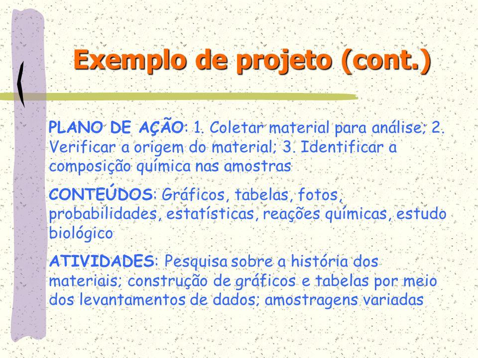 PLANO DE AÇÃO: 1. Coletar material para análise; 2. Verificar a origem do material; 3. Identificar a composição química nas amostras CONTEÚDOS: Gráfic