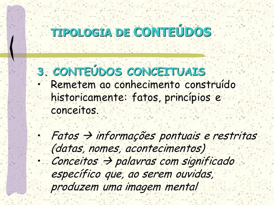 TIPOLOGIA DE CONTEÚDOS 3. CONTEÚDOS CONCEITUAIS Remetem ao conhecimento construído historicamente: fatos, princípios e conceitos. Fatos informações po