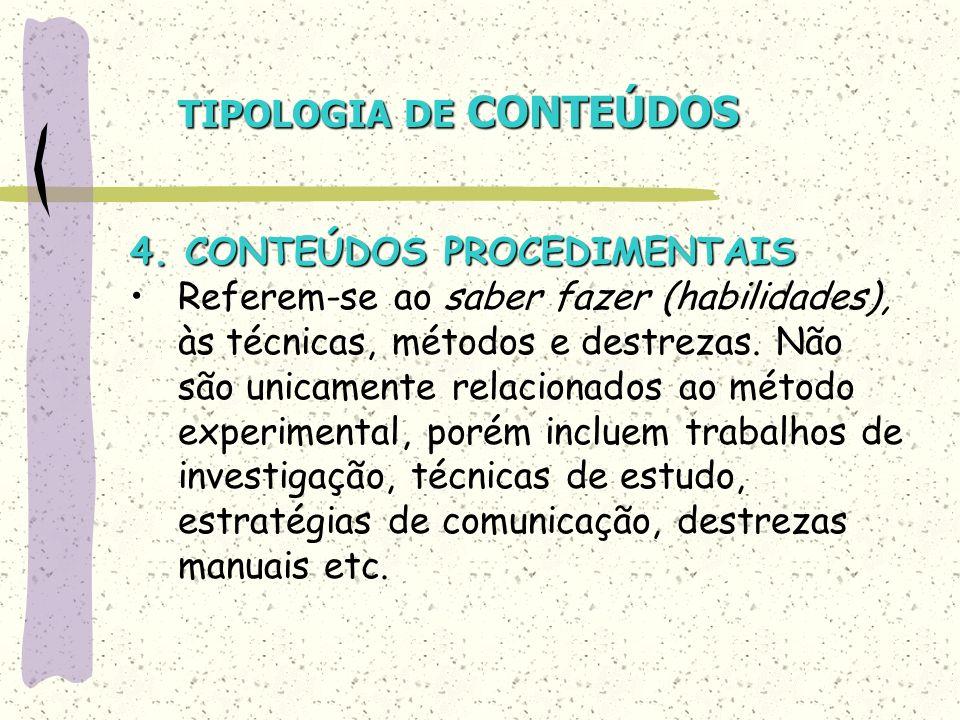 TIPOLOGIA DE CONTEÚDOS 4. CONTEÚDOS PROCEDIMENTAIS Referem-se ao saber fazer (habilidades), às técnicas, métodos e destrezas. Não são unicamente relac