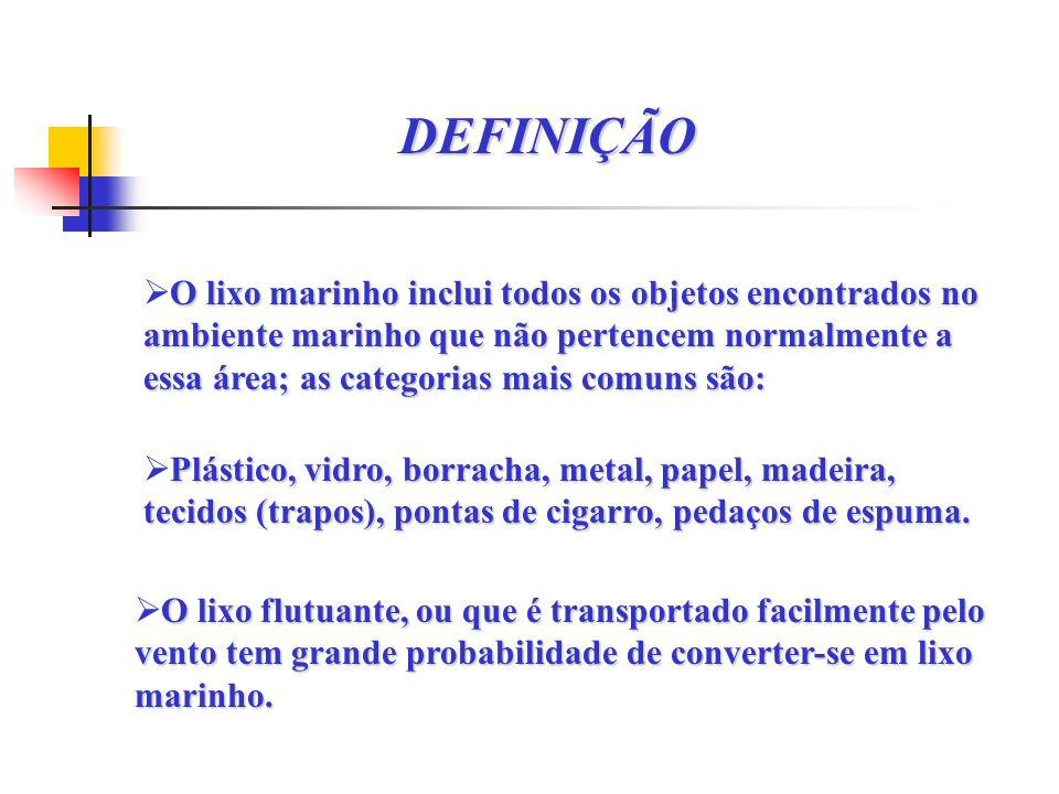 DEFINIÇÃO O lixo marinho inclui todos os objetos encontrados no ambiente marinho que não pertencem normalmente a essa área; as categorias mais comuns são: Plástico, vidro, borracha, metal, papel, madeira, tecidos (trapos), pontas de cigarro, pedaços de espuma.