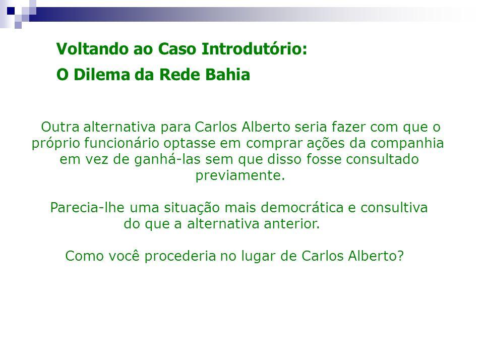 Voltando ao Caso Introdutório: O Dilema da Rede Bahia Outra alternativa para Carlos Alberto seria fazer com que o próprio funcionário optasse em compr