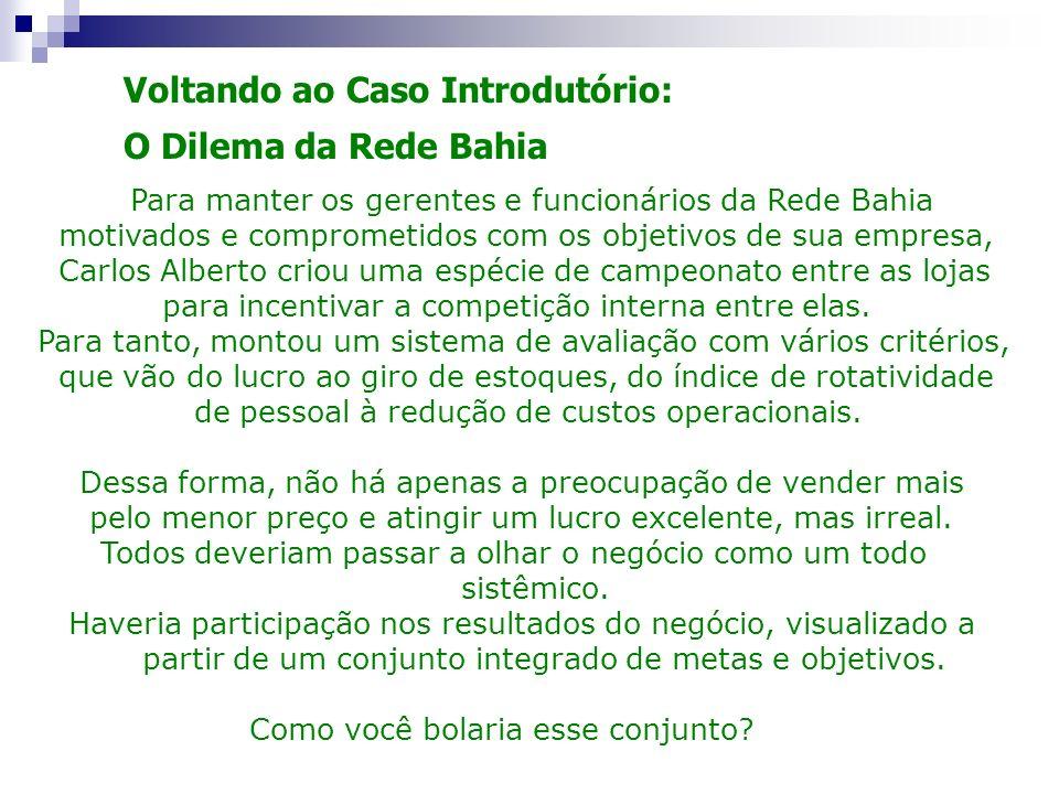 Voltando ao Caso Introdutório: O Dilema da Rede Bahia Para manter os gerentes e funcionários da Rede Bahia motivados e comprometidos com os objetivos