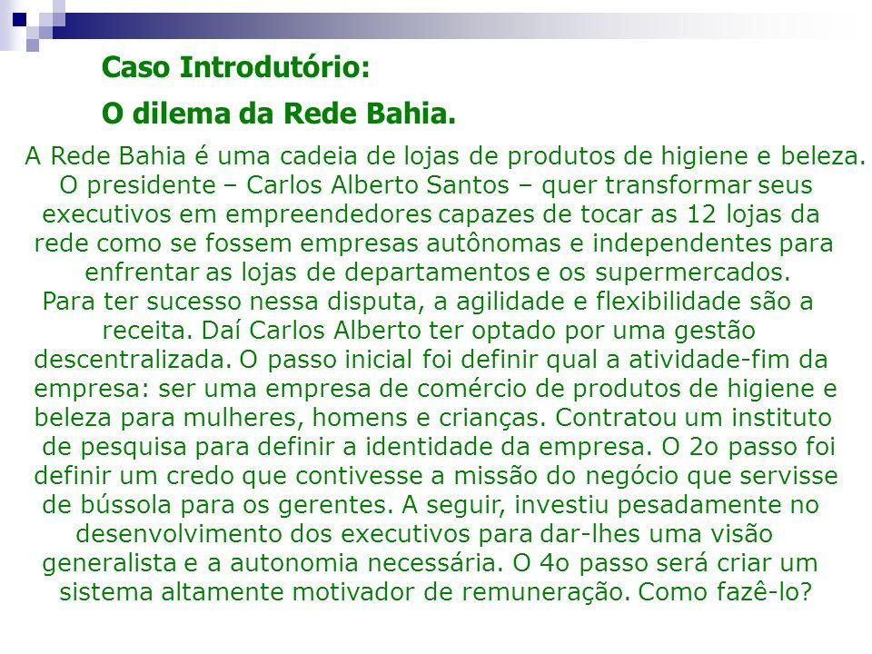Caso Introdutório: O dilema da Rede Bahia. A Rede Bahia é uma cadeia de lojas de produtos de higiene e beleza. O presidente – Carlos Alberto Santos –