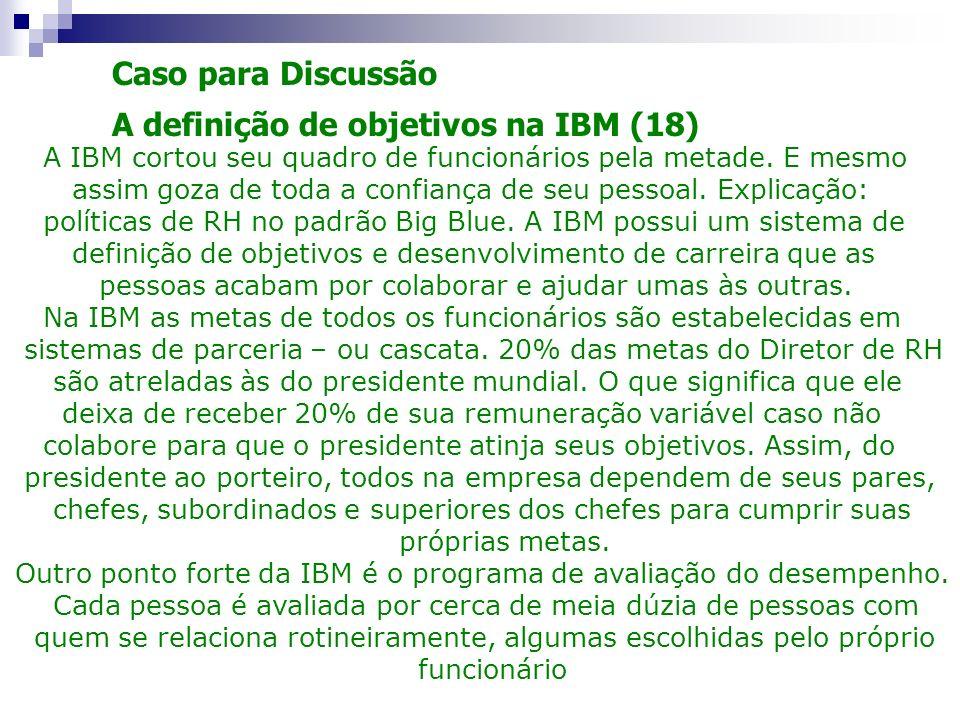 Caso para Discussão A definição de objetivos na IBM (18) A IBM cortou seu quadro de funcionários pela metade. E mesmo assim goza de toda a confiança d