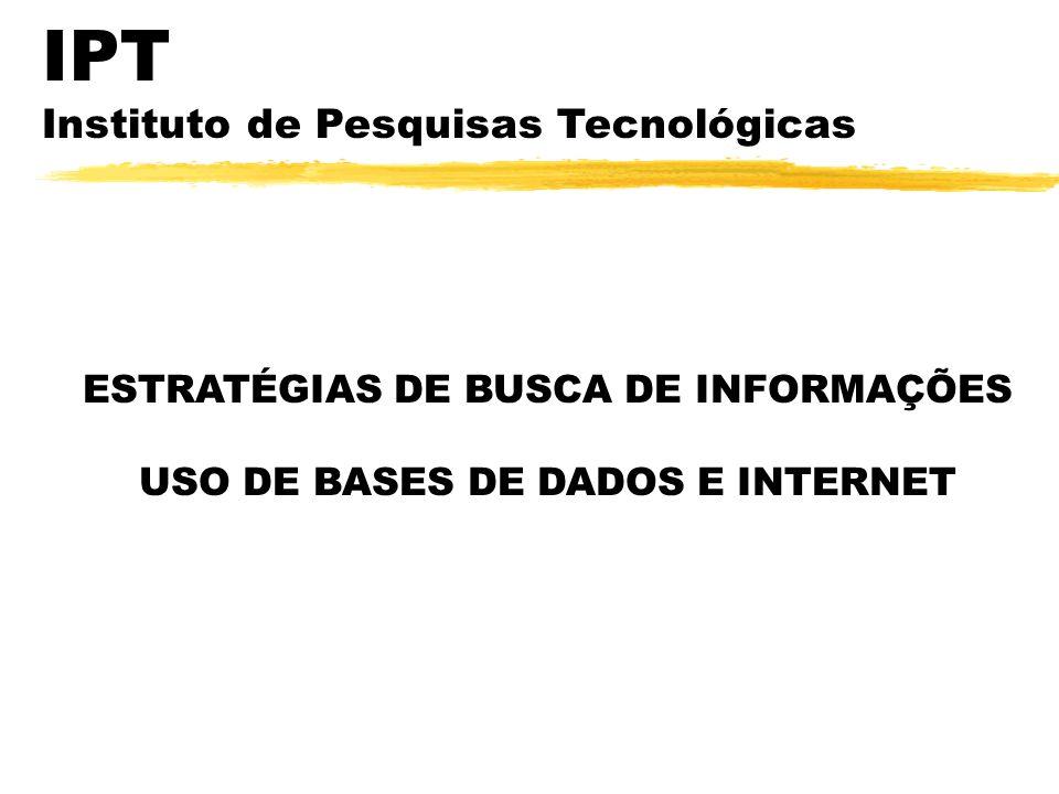 ESTRATÉGIAS DE BUSCA DE INFORMAÇÕES USO DE BASES DE DADOS E INTERNET IPT Instituto de Pesquisas Tecnológicas