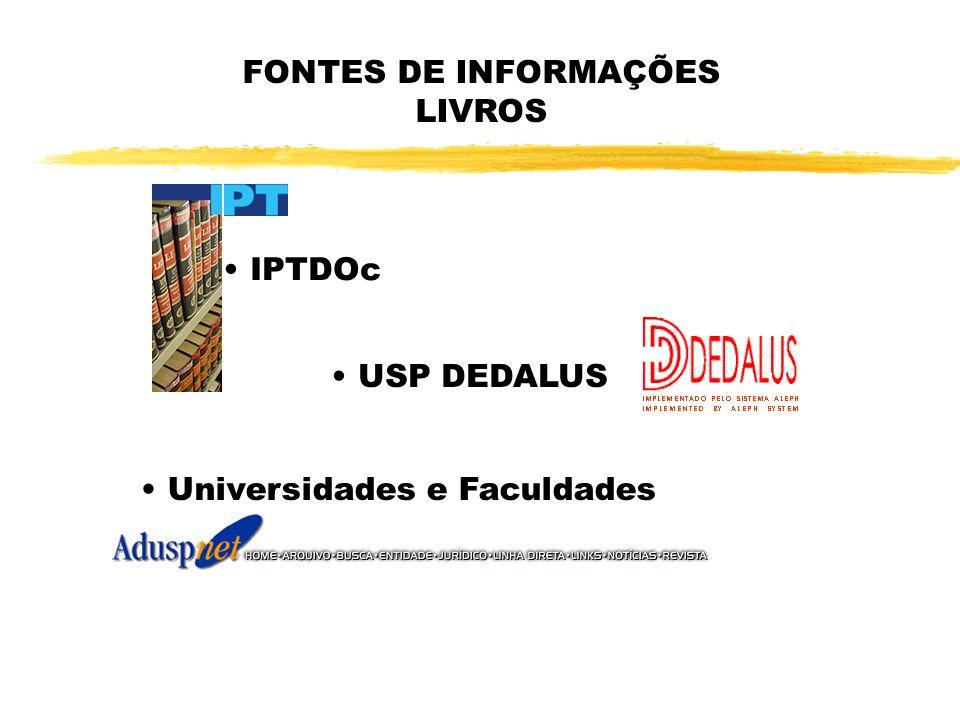 FONTES DE INFORMAÇÕES LIVROS IPTDOc USP DEDALUS Universidades e Faculdades