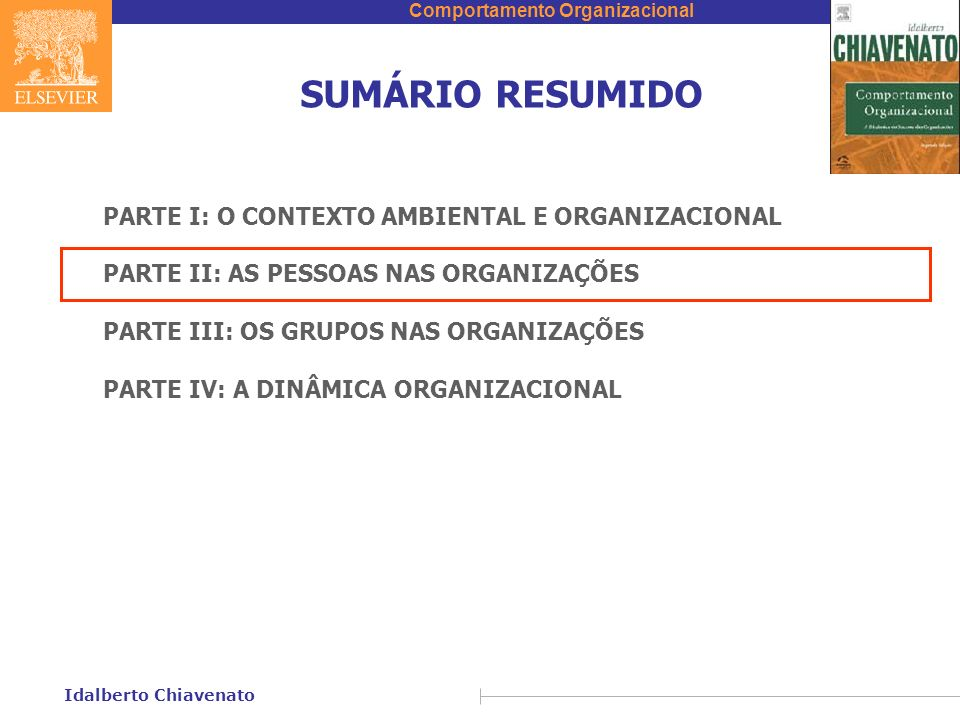 Comportamento Organizacional Idalberto Chiavenato SUMÁRIO RESUMIDO PARTE I: O CONTEXTO AMBIENTAL E ORGANIZACIONAL PARTE II: AS PESSOAS NAS ORGANIZAÇÕE