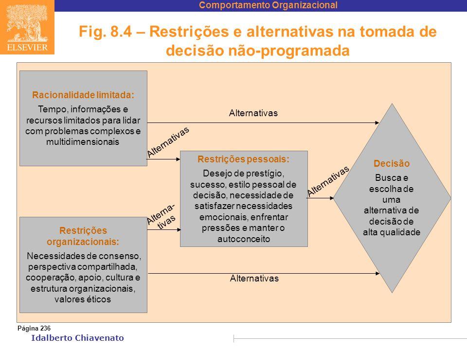 Comportamento Organizacional Idalberto Chiavenato Fig. 8.4 – Restrições e alternativas na tomada de decisão não-programada Racionalidade limitada: Tem