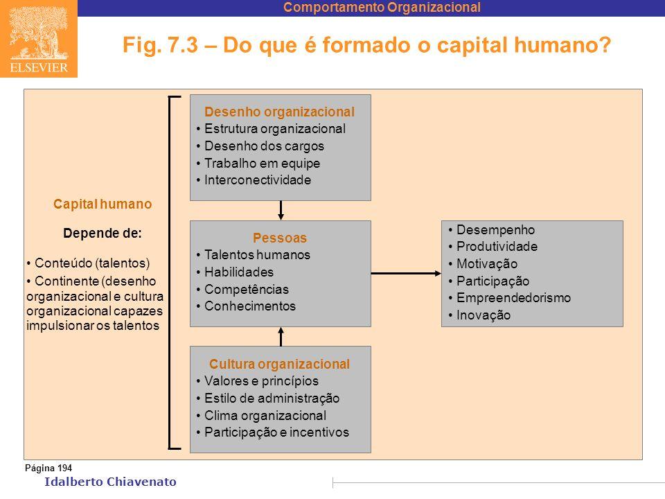 Comportamento Organizacional Idalberto Chiavenato Fig. 7.3 – Do que é formado o capital humano? Desenho organizacional Estrutura organizacional Desenh