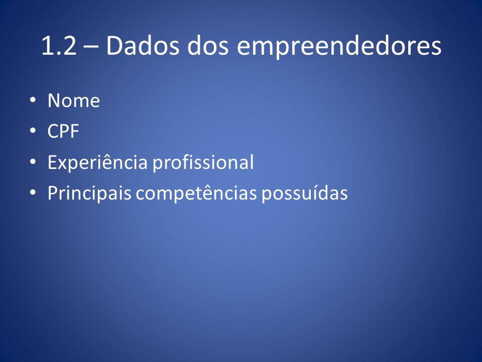 1.2 – Dados dos empreendedores Nome CPF Experiência profissional Principais competências possuídas