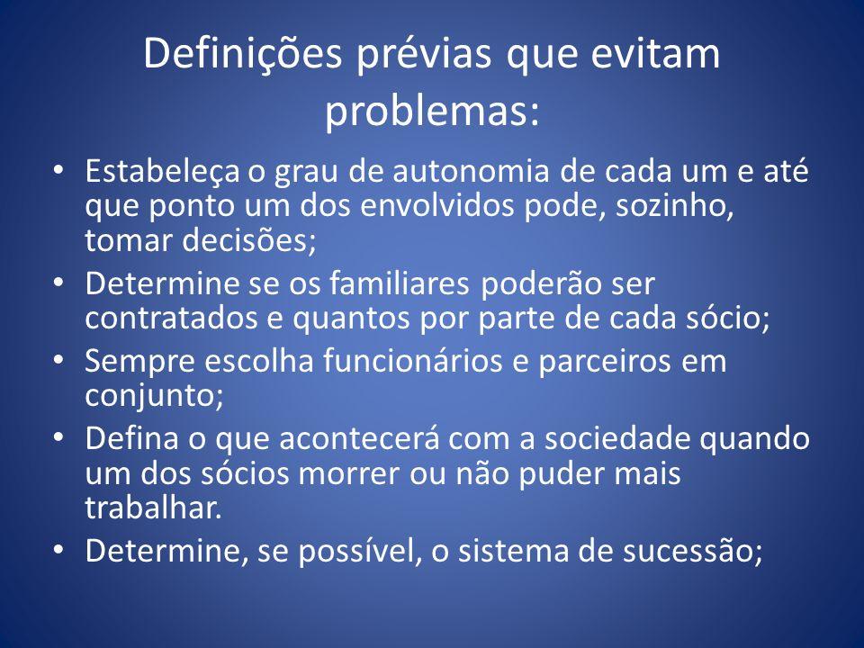 Definições prévias que evitam problemas: Estabeleça o grau de autonomia de cada um e até que ponto um dos envolvidos pode, sozinho, tomar decisões; De