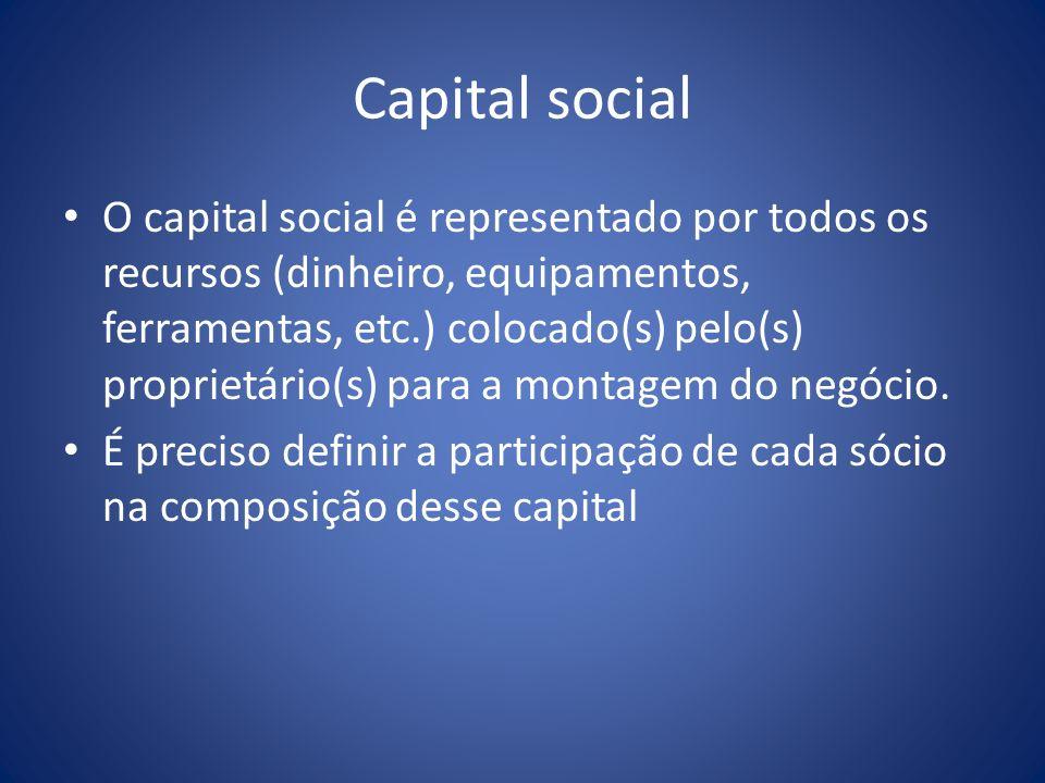 Capital social O capital social é representado por todos os recursos (dinheiro, equipamentos, ferramentas, etc.) colocado(s) pelo(s) proprietário(s) p