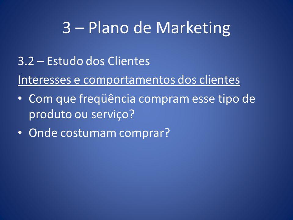 3 – Plano de Marketing 3.2 – Estudo dos Clientes Interesses e comportamentos dos clientes Com que freqüência compram esse tipo de produto ou serviço?