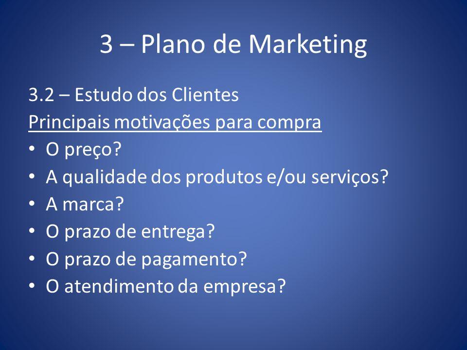 3 – Plano de Marketing 3.2 – Estudo dos Clientes Principais motivações para compra O preço? A qualidade dos produtos e/ou serviços? A marca? O prazo d