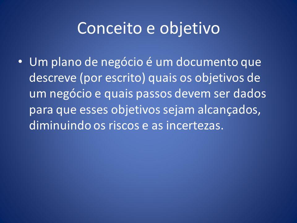 Conceito e objetivo Um plano de negócio é um documento que descreve (por escrito) quais os objetivos de um negócio e quais passos devem ser dados para